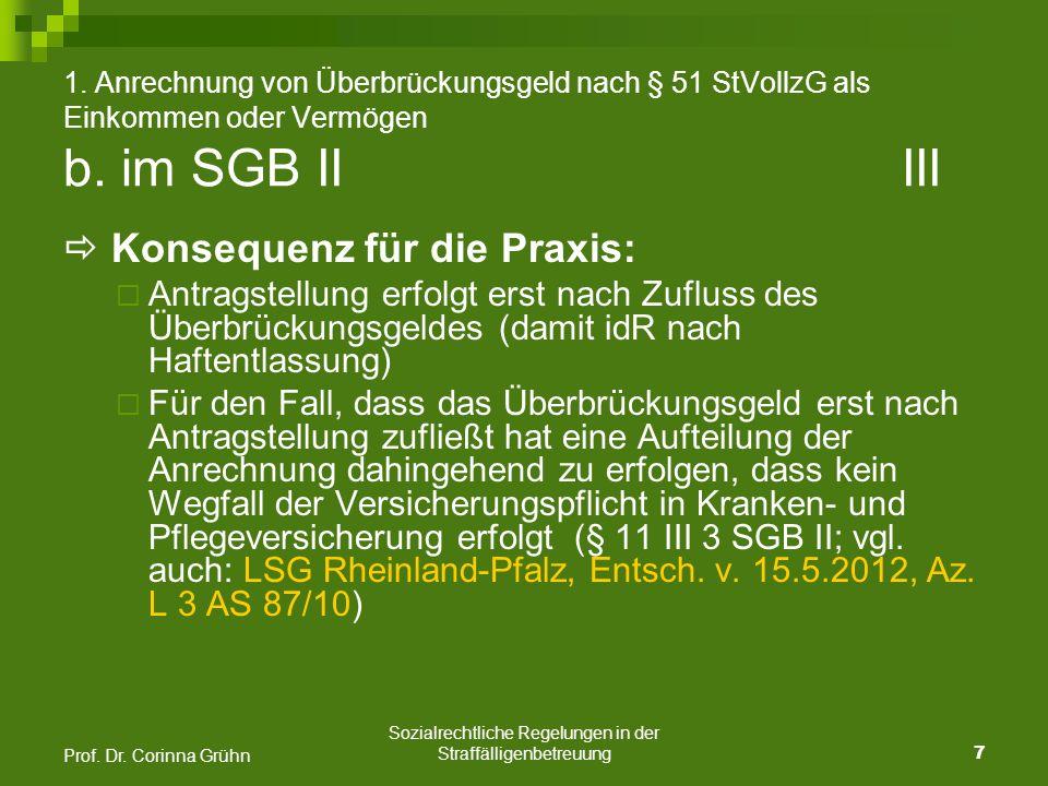 Sozialrechtliche Regelungen in der Straffälligenbetreuung 18 Prof.