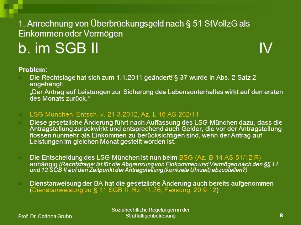 Sozialrechtliche Regelungen in der Straffälligenbetreuung 19 Prof.