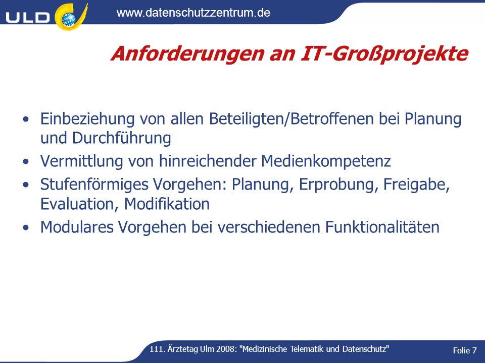 www.datenschutzzentrum.de 111. Ärztetag Ulm 2008: