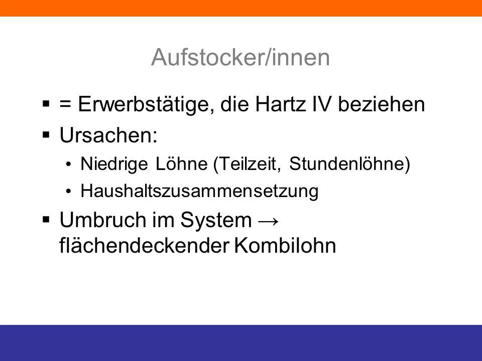 Aufstocker/innen = Erwerbstätige, die Hartz IV beziehen Ursachen: Niedrige Löhne (Teilzeit, Stundenlöhne) Haushaltszusammensetzung Umbruch im System f