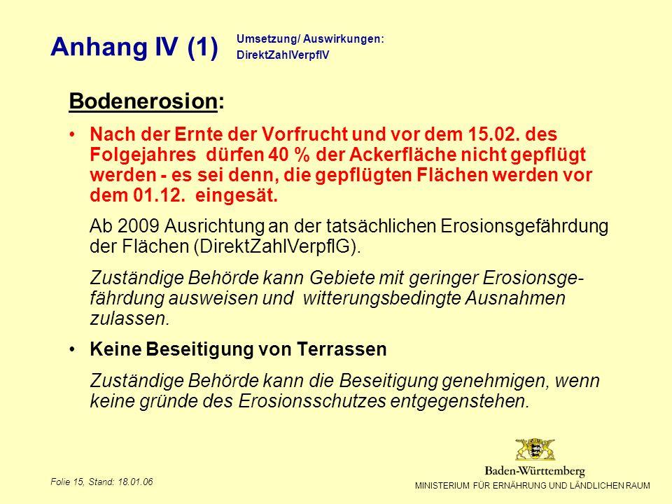 MINISTERIUM FÜR ERNÄHRUNG UND LÄNDLICHEN RAUM Folie 15, Stand: 18.01.06 Bodenerosion: Nach der Ernte der Vorfrucht und vor dem 15.02. des Folgejahres