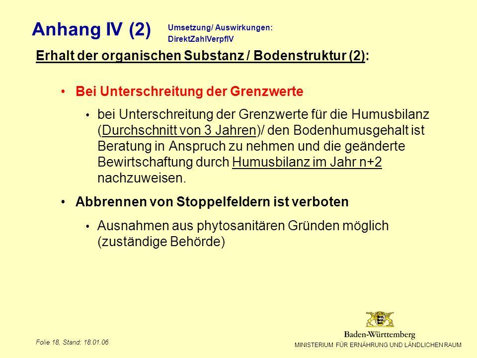 MINISTERIUM FÜR ERNÄHRUNG UND LÄNDLICHEN RAUM Folie 18, Stand: 18.01.06 Anhang IV (2) Erhalt der organischen Substanz / Bodenstruktur (2): Bei Untersc