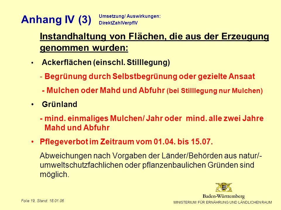 MINISTERIUM FÜR ERNÄHRUNG UND LÄNDLICHEN RAUM Folie 19, Stand: 18.01.06 Anhang IV (3) Instandhaltung von Flächen, die aus der Erzeugung genommen wurde