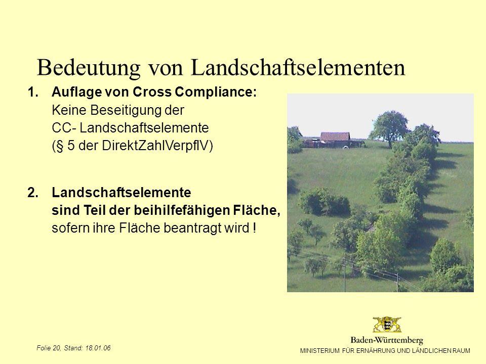 MINISTERIUM FÜR ERNÄHRUNG UND LÄNDLICHEN RAUM Folie 20, Stand: 18.01.06 1.Auflage von Cross Compliance: Keine Beseitigung der CC- Landschaftselemente