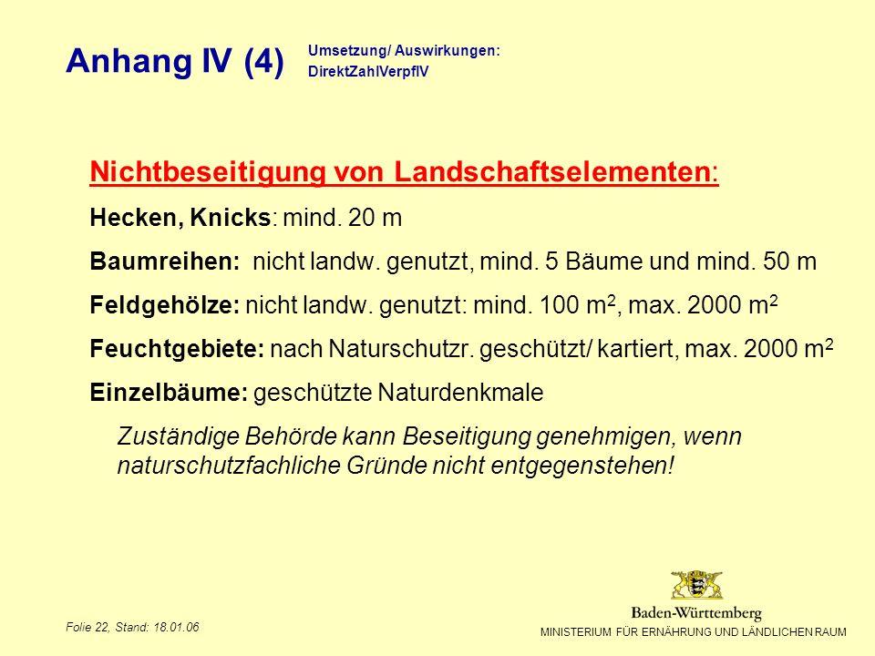 MINISTERIUM FÜR ERNÄHRUNG UND LÄNDLICHEN RAUM Folie 22, Stand: 18.01.06 Anhang IV (4) Nichtbeseitigung von Landschaftselementen: Hecken, Knicks: mind.