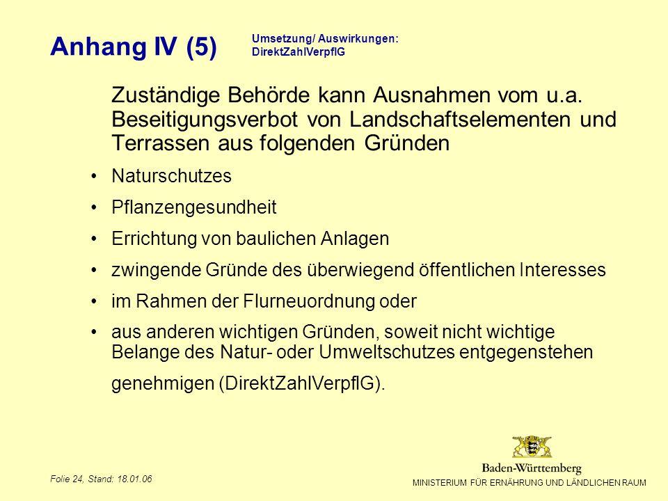 MINISTERIUM FÜR ERNÄHRUNG UND LÄNDLICHEN RAUM Folie 24, Stand: 18.01.06 Anhang IV (5) Umsetzung/ Auswirkungen: DirektZahlVerpflG Zuständige Behörde ka
