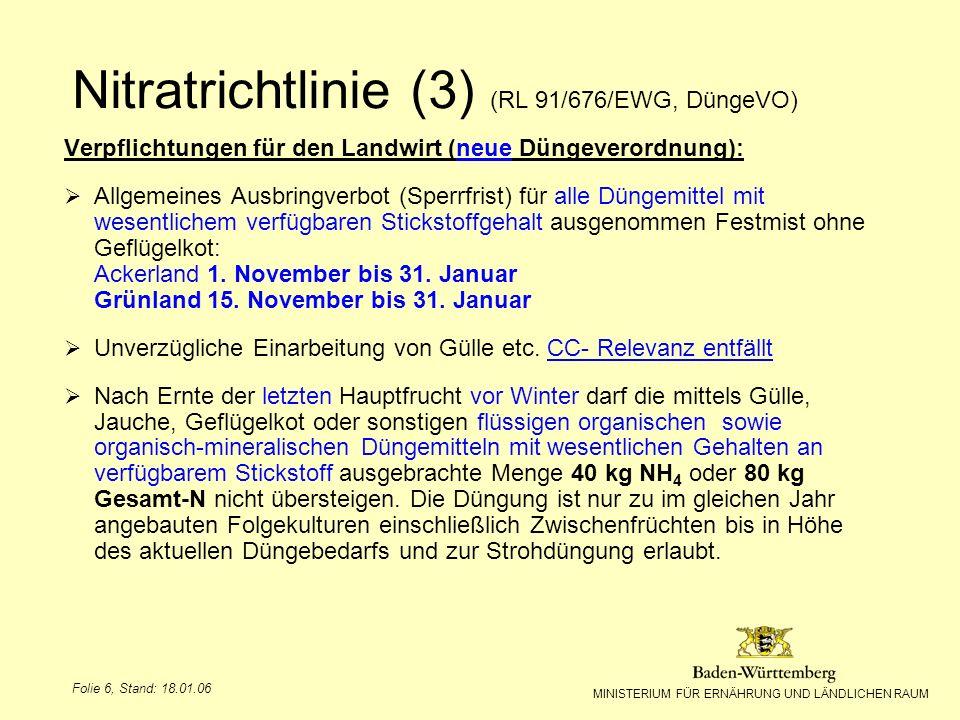 MINISTERIUM FÜR ERNÄHRUNG UND LÄNDLICHEN RAUM Folie 7, Stand: 18.01.06 Verpflichtungen für den Landwirt : Anforderungen an Anlagen zum Lagern und Abfüllen von Gülle, Jauche, Festmist u.