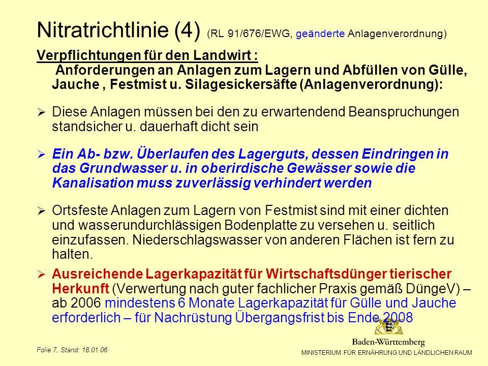 MINISTERIUM FÜR ERNÄHRUNG UND LÄNDLICHEN RAUM Folie 7, Stand: 18.01.06 Verpflichtungen für den Landwirt : Anforderungen an Anlagen zum Lagern und Abfü