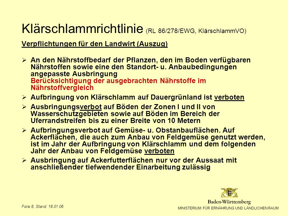 MINISTERIUM FÜR ERNÄHRUNG UND LÄNDLICHEN RAUM Folie 8, Stand: 18.01.06 Verpflichtungen für den Landwirt (Auszug) An den Nährstoffbedarf der Pflanzen,
