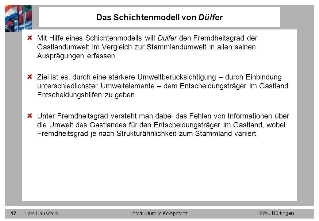 HfWU Nürtingen Lars HauschildInterkulturelle Kompetenz17 Mit Hilfe eines Schichtenmodells will Dülfer den Fremdheitsgrad der Gastlandumwelt im Verglei