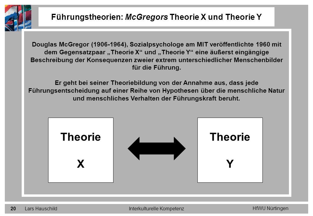 HfWU Nürtingen Lars HauschildInterkulturelle Kompetenz20 Führungstheorien: McGregors Theorie X und Theorie Y Douglas McGregor (1906-1964), Sozialpsych