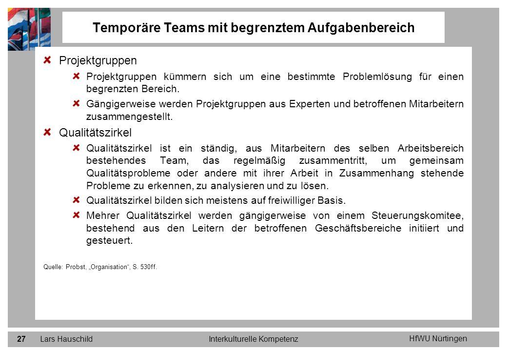 HfWU Nürtingen Lars HauschildInterkulturelle Kompetenz27 Projektgruppen Projektgruppen kümmern sich um eine bestimmte Problemlösung für einen begrenzt
