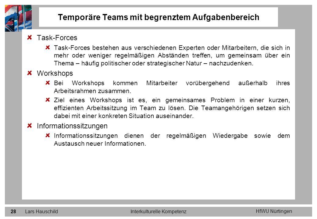 HfWU Nürtingen Lars HauschildInterkulturelle Kompetenz28 Task-Forces Task-Forces bestehen aus verschiedenen Experten oder Mitarbeitern, die sich in me