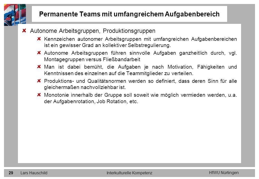 HfWU Nürtingen Lars HauschildInterkulturelle Kompetenz29 Autonome Arbeitsgruppen, Produktionsgruppen Kennzeichen autonomer Arbeitsgruppen mit umfangre
