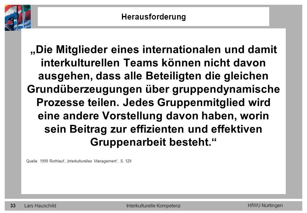 HfWU Nürtingen Lars HauschildInterkulturelle Kompetenz33 Die Mitglieder eines internationalen und damit interkulturellen Teams können nicht davon ausg