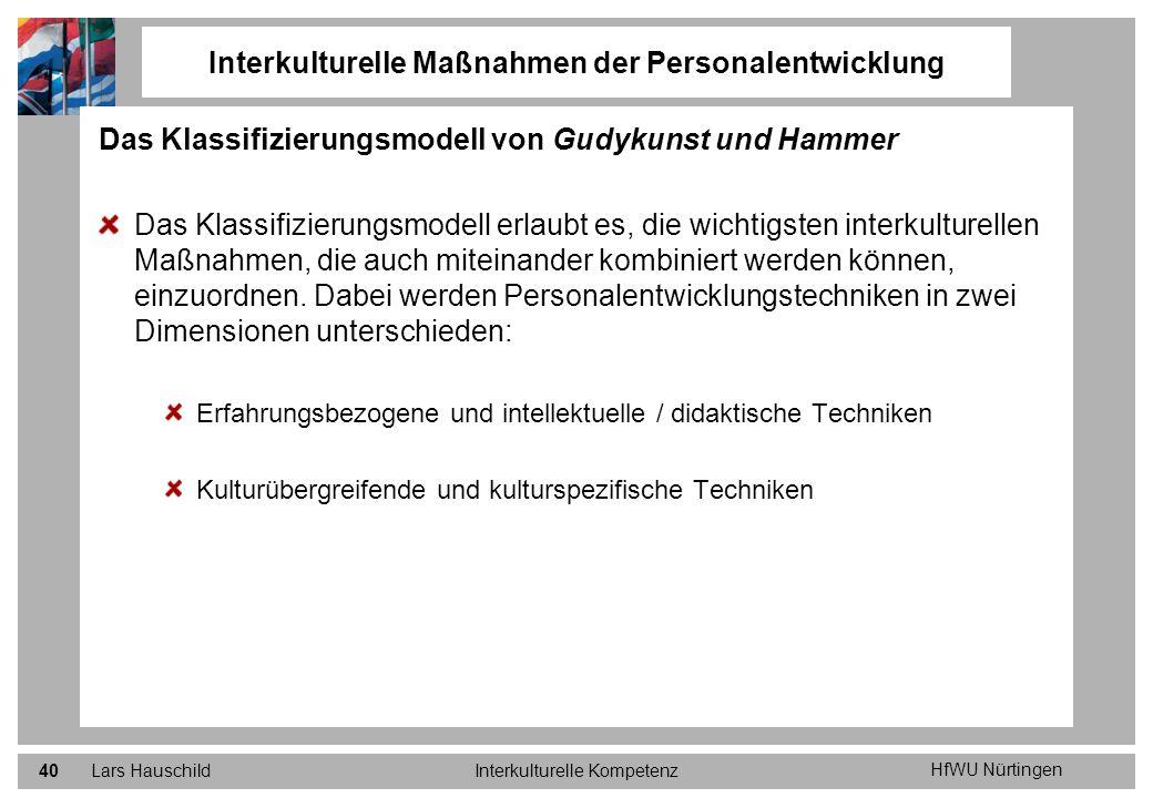 HfWU Nürtingen Lars HauschildInterkulturelle Kompetenz40 Das Klassifizierungsmodell von Gudykunst und Hammer Das Klassifizierungsmodell erlaubt es, di