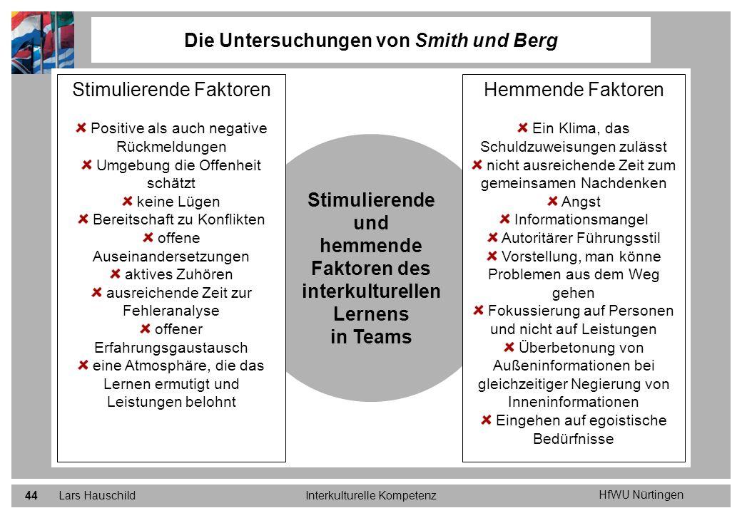 HfWU Nürtingen Lars HauschildInterkulturelle Kompetenz44 Die Untersuchungen von Smith und Berg Stimulierende und hemmende Faktoren des interkulturelle