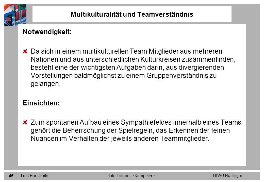 HfWU Nürtingen Lars HauschildInterkulturelle Kompetenz46 Notwendigkeit: Da sich in einem multikulturellen Team Mitglieder aus mehreren Nationen und au