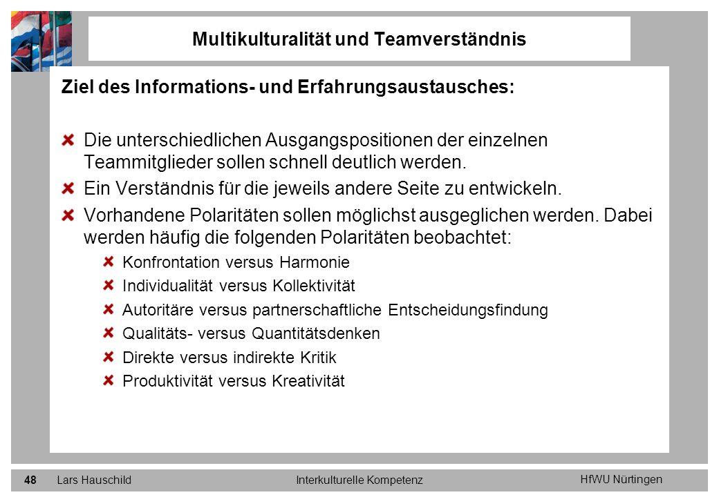 HfWU Nürtingen Lars HauschildInterkulturelle Kompetenz48 Ziel des Informations- und Erfahrungsaustausches: Die unterschiedlichen Ausgangspositionen de