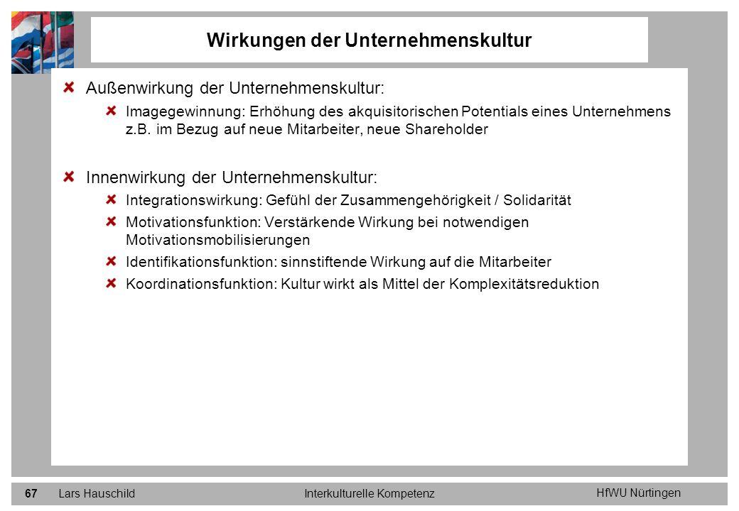 HfWU Nürtingen Lars HauschildInterkulturelle Kompetenz67 Außenwirkung der Unternehmenskultur: Imagegewinnung: Erhöhung des akquisitorischen Potentials