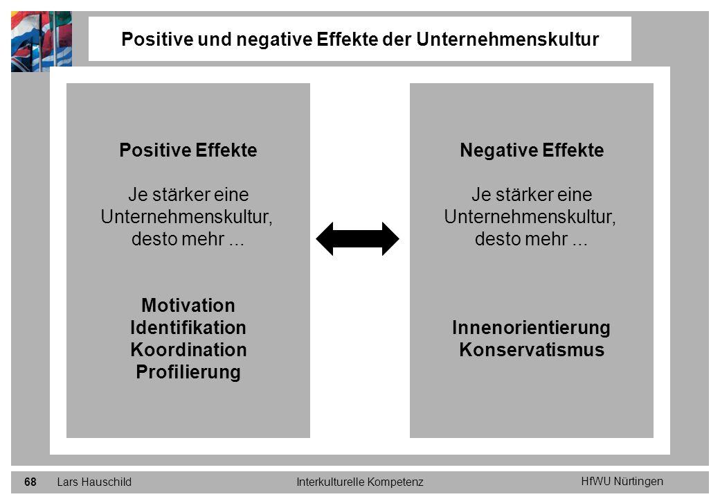 HfWU Nürtingen Lars HauschildInterkulturelle Kompetenz68 Positive und negative Effekte der Unternehmenskultur Positive Effekte Je stärker eine Unterne