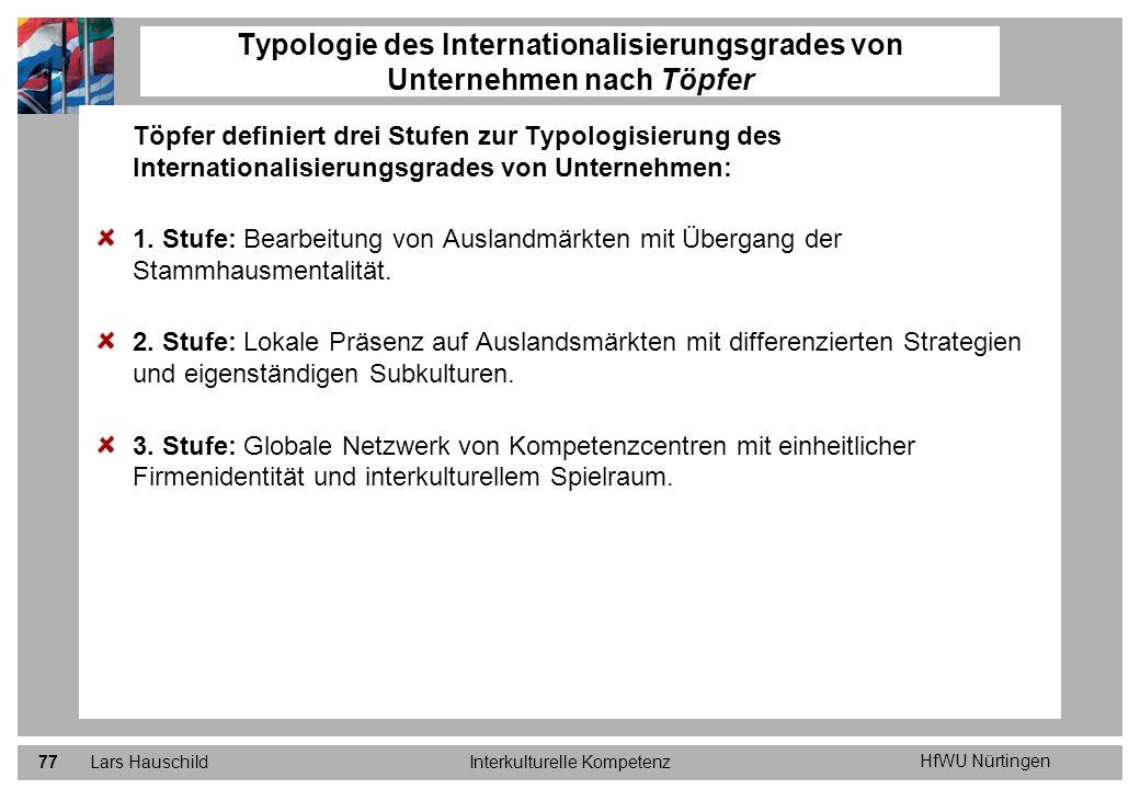 HfWU Nürtingen Lars HauschildInterkulturelle Kompetenz77 Töpfer definiert drei Stufen zur Typologisierung des Internationalisierungsgrades von Unterne