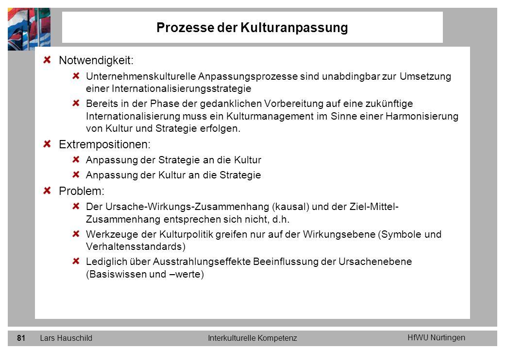 HfWU Nürtingen Lars HauschildInterkulturelle Kompetenz81 Notwendigkeit: Unternehmenskulturelle Anpassungsprozesse sind unabdingbar zur Umsetzung einer