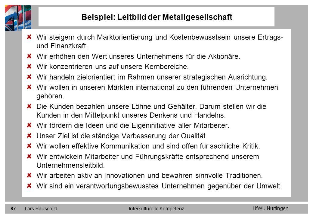 HfWU Nürtingen Lars HauschildInterkulturelle Kompetenz87 Wir steigern durch Marktorientierung und Kostenbewusstsein unsere Ertrags- und Finanzkraft. W