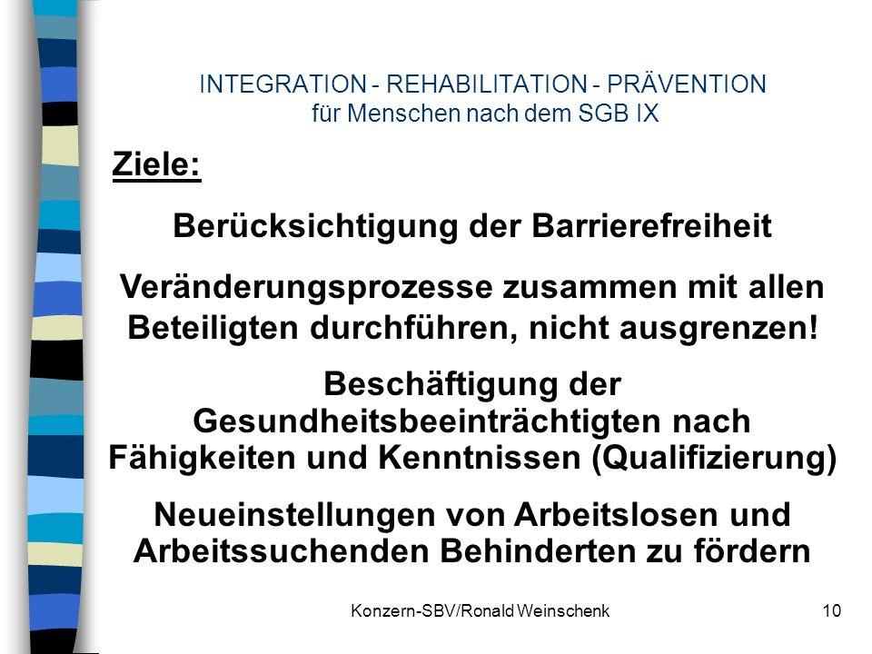 Konzern-SBV/Ronald Weinschenk10 INTEGRATION - REHABILITATION - PRÄVENTION für Menschen nach dem SGB IX Ziele: Berücksichtigung der Barrierefreiheit Ve