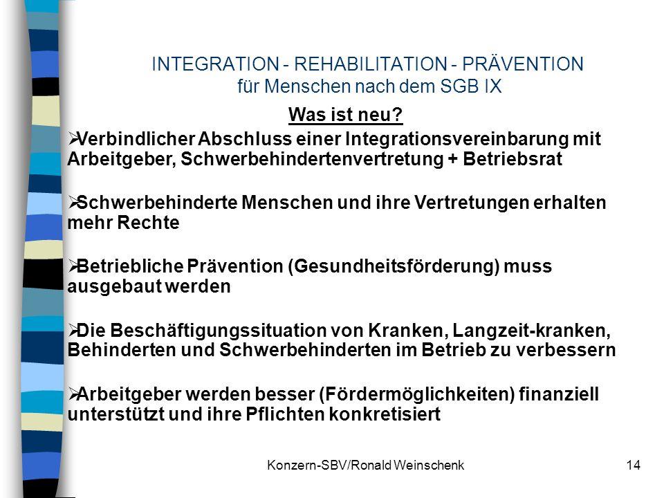 Konzern-SBV/Ronald Weinschenk14 INTEGRATION - REHABILITATION - PRÄVENTION für Menschen nach dem SGB IX Was ist neu? Verbindlicher Abschluss einer Inte