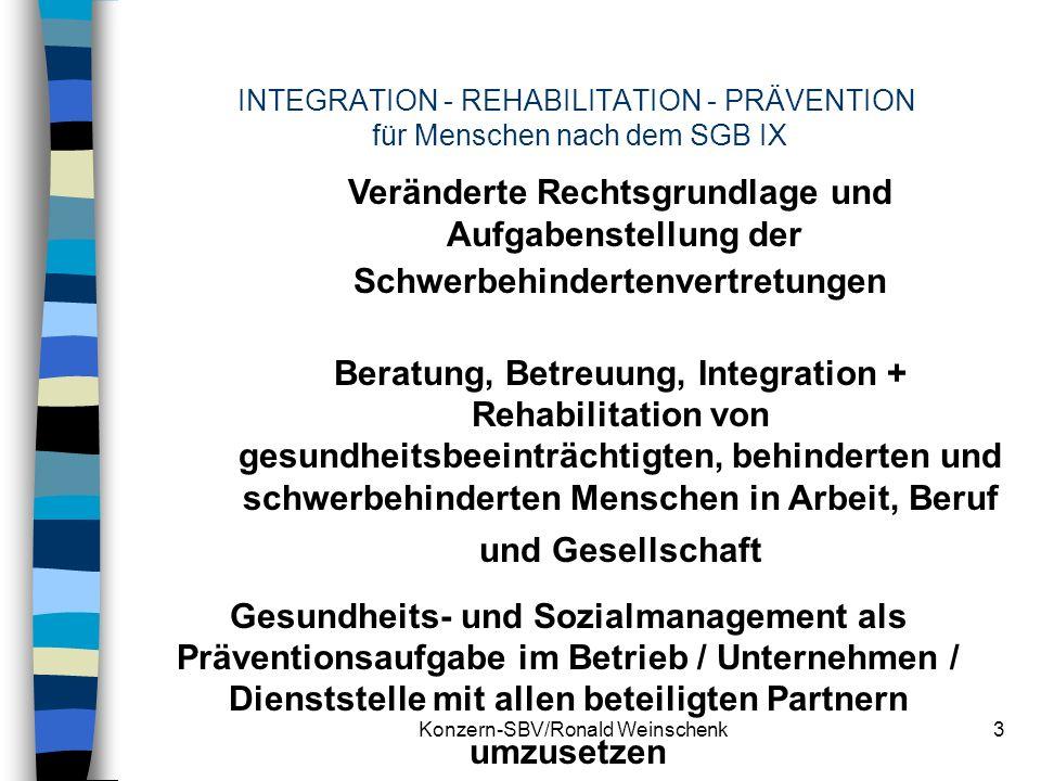 Konzern-SBV/Ronald Weinschenk3 INTEGRATION - REHABILITATION - PRÄVENTION für Menschen nach dem SGB IX Veränderte Rechtsgrundlage und Aufgabenstellung