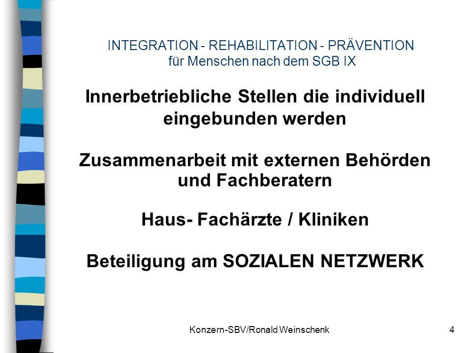 Konzern-SBV/Ronald Weinschenk4 INTEGRATION - REHABILITATION - PRÄVENTION für Menschen nach dem SGB IX Innerbetriebliche Stellen die individuell eingeb
