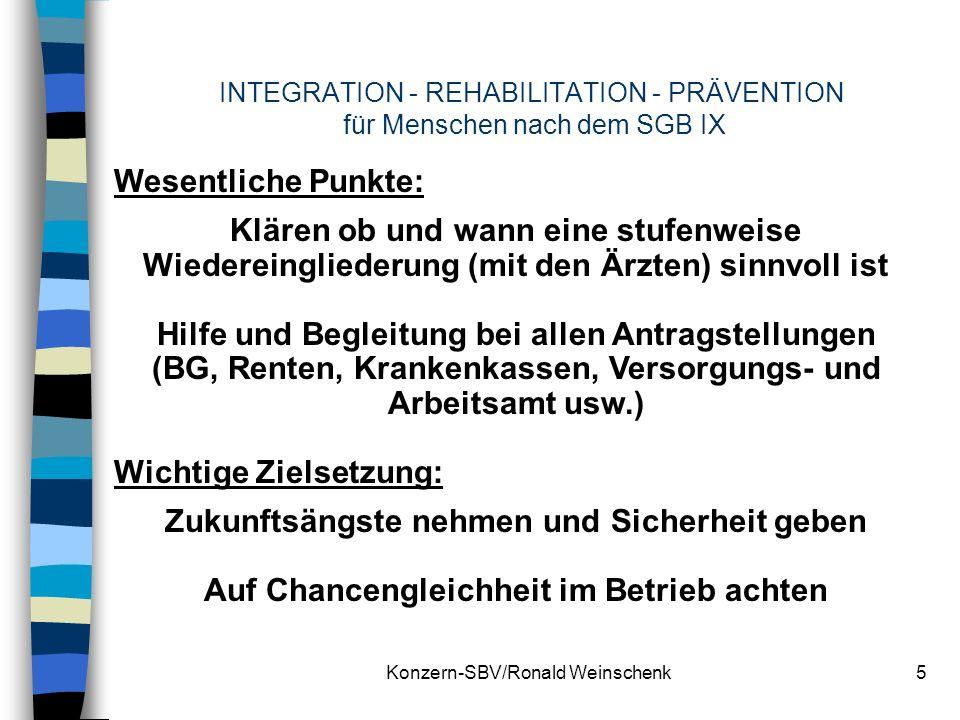 Konzern-SBV/Ronald Weinschenk5 INTEGRATION - REHABILITATION - PRÄVENTION für Menschen nach dem SGB IX Wesentliche Punkte: Klären ob und wann eine stuf