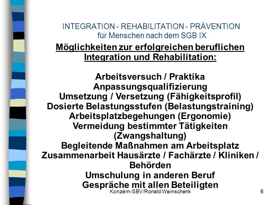Konzern-SBV/Ronald Weinschenk6 INTEGRATION - REHABILITATION - PRÄVENTION für Menschen nach dem SGB IX Möglichkeiten zur erfolgreichen beruflichen Inte