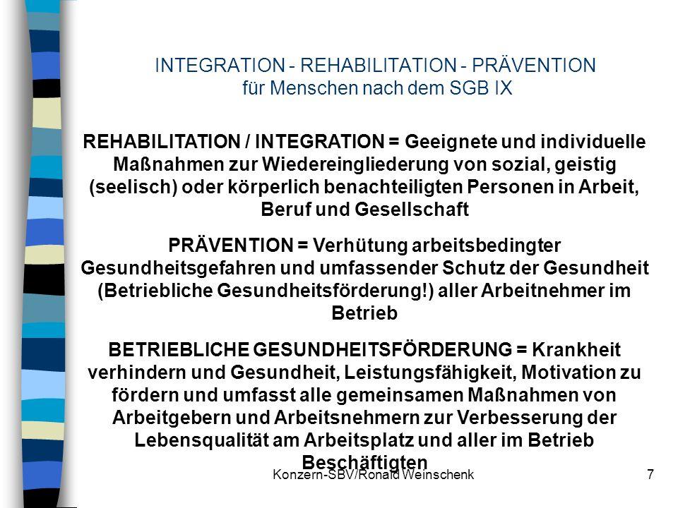 Konzern-SBV/Ronald Weinschenk7 INTEGRATION - REHABILITATION - PRÄVENTION für Menschen nach dem SGB IX REHABILITATION / INTEGRATION = Geeignete und ind
