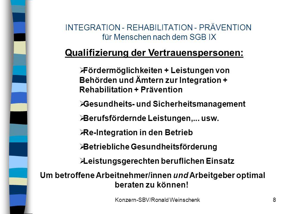 Konzern-SBV/Ronald Weinschenk8 INTEGRATION - REHABILITATION - PRÄVENTION für Menschen nach dem SGB IX Qualifizierung der Vertrauenspersonen: Fördermög