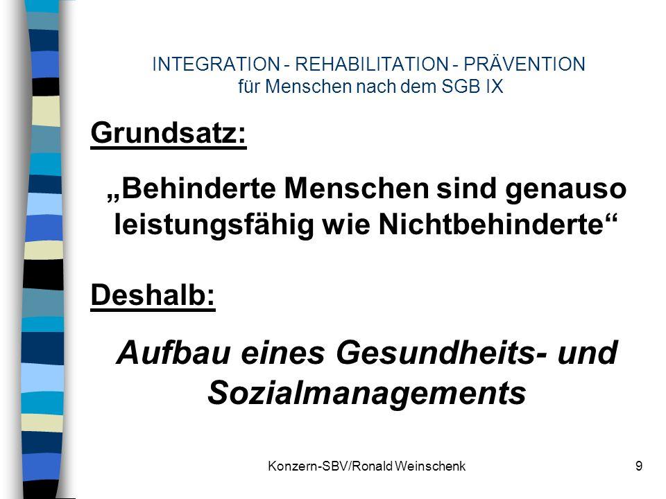 Konzern-SBV/Ronald Weinschenk9 INTEGRATION - REHABILITATION - PRÄVENTION für Menschen nach dem SGB IX Grundsatz: Behinderte Menschen sind genauso leis