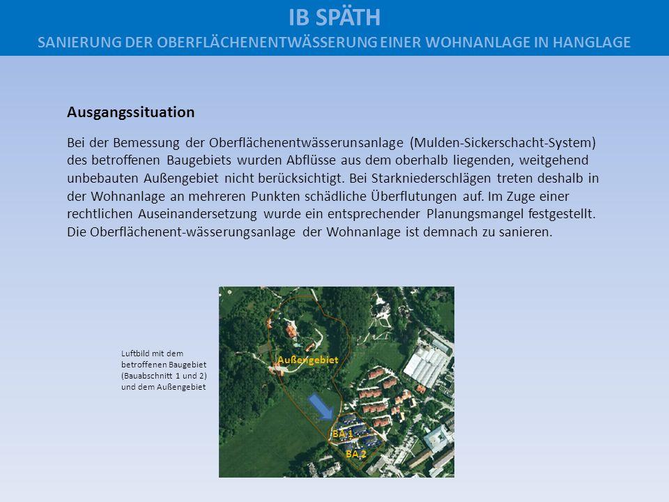Außengebiet BA 1 BA 2 Ausgangssituation Bei der Bemessung der Oberflächenentwässerunsanlage (Mulden-Sickerschacht-System) des betroffenen Baugebiets w