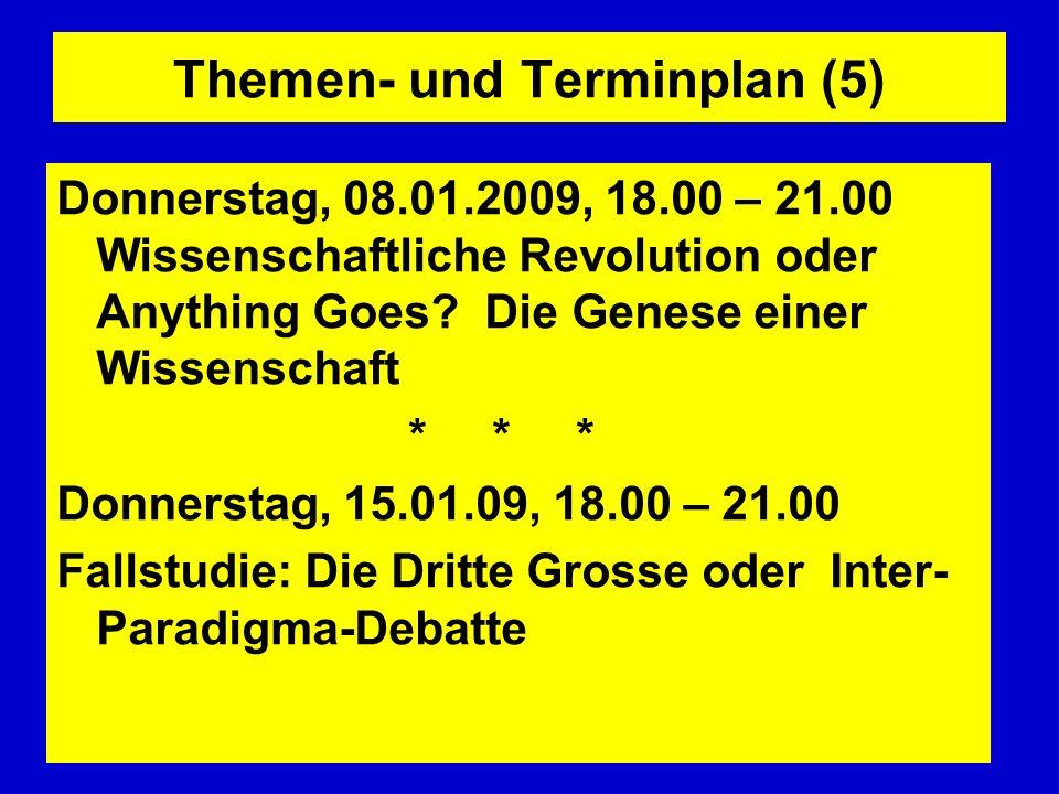 Themen- und Terminplan (5) Donnerstag, 08.01.2009, 18.00 – 21.00 Wissenschaftliche Revolution oder Anything Goes? Die Genese einer Wissenschaft * * *
