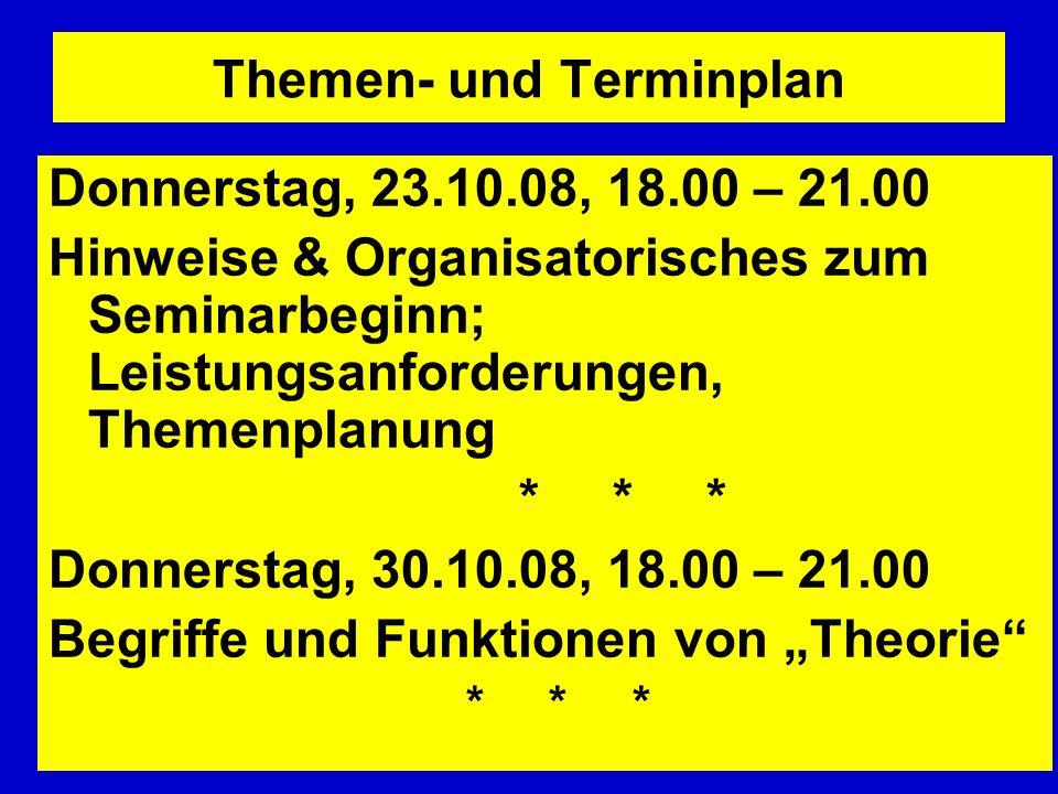 Themen- und Terminplan Donnerstag, 23.10.08, 18.00 – 21.00 Hinweise & Organisatorisches zum Seminarbeginn; Leistungsanforderungen, Themenplanung * * *