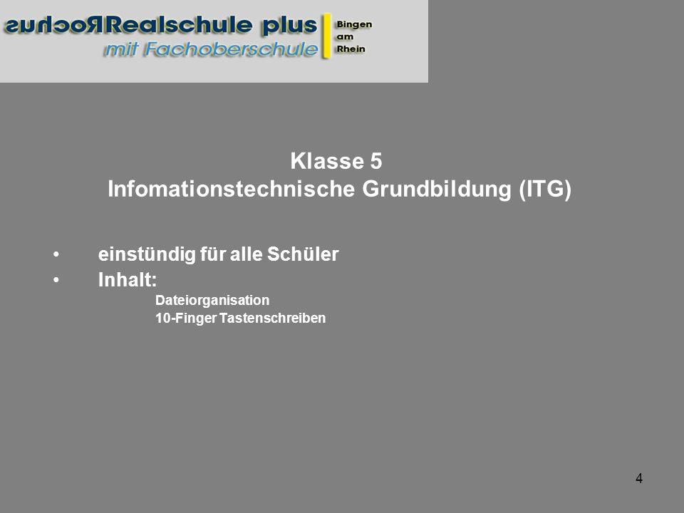 4 einstündig für alle Schüler Inhalt: Dateiorganisation 10-Finger Tastenschreiben Klasse 5 Infomationstechnische Grundbildung (ITG)