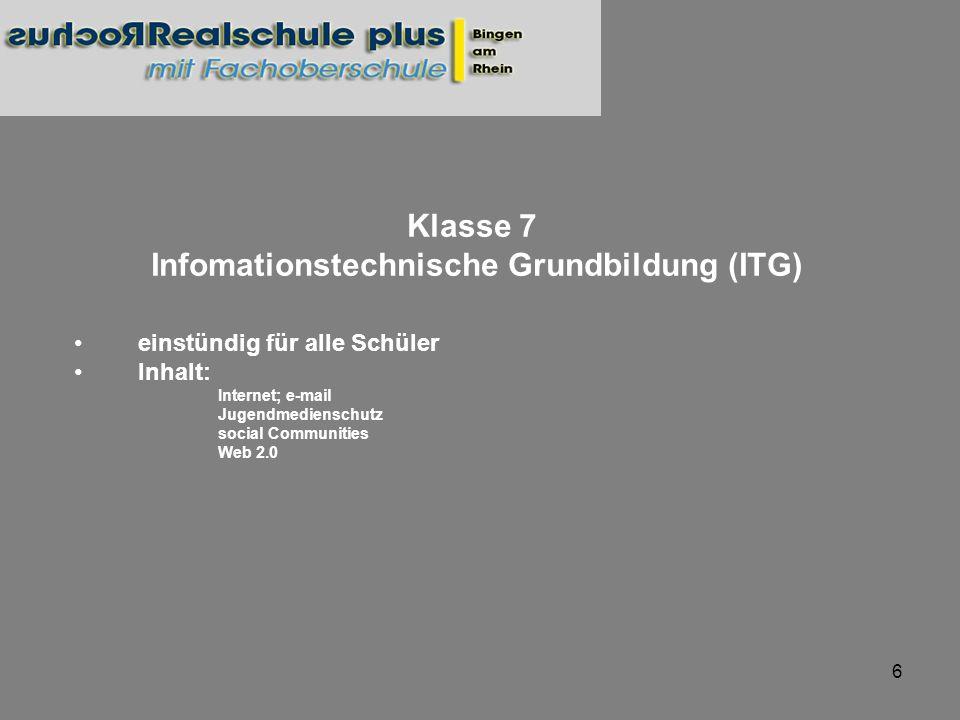 7 Klasse 8 Wahlpflichtfach IB (WPF IB) Zweistündig Inhalt: Windows Textverarbeitung (Writer) Präsentationsprogramm (Impress) Möglicher Abschluss der jeweiligen Module des europäischen Computerführerscheines (ECDL)