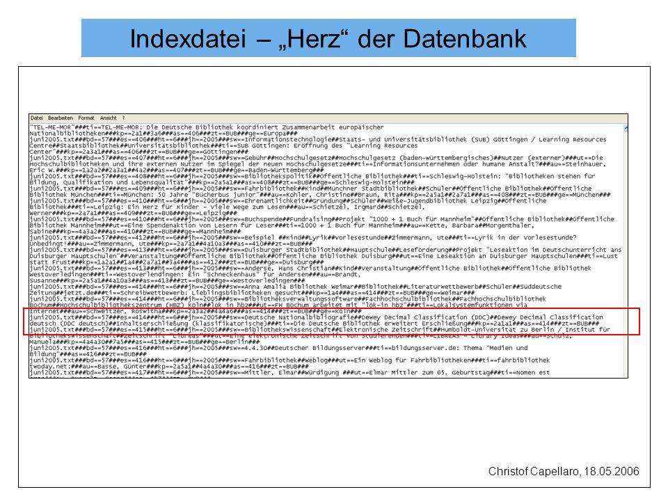 Indexdatei – Herz der Datenbank Christof Capellaro, 18.05.2006
