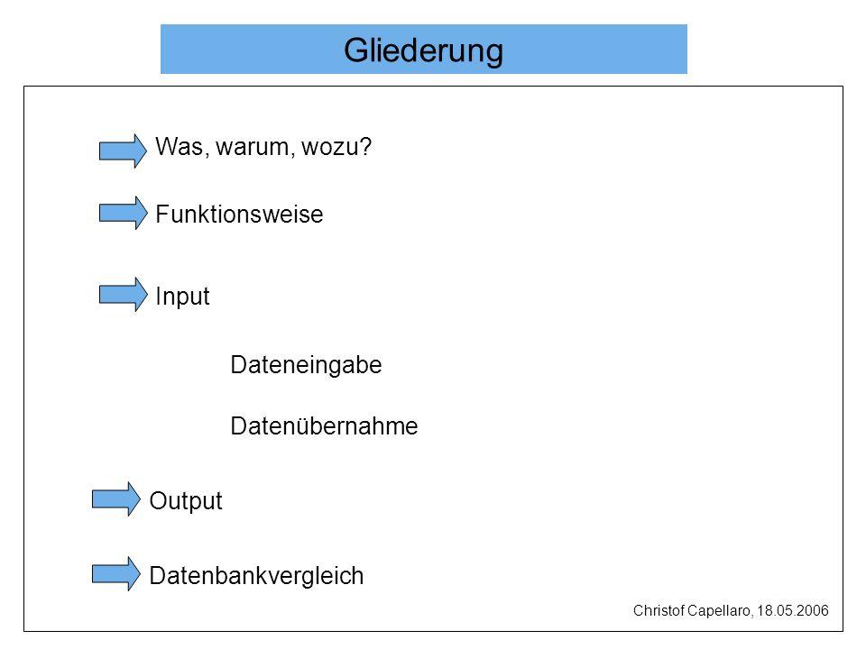 Was, warum, wozu? Funktionsweise Input Dateneingabe Datenübernahme Output Datenbankvergleich Gliederung Christof Capellaro, 18.05.2006
