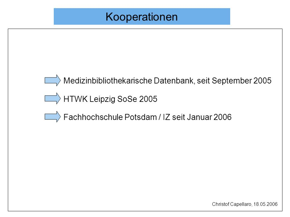 Kooperation IZ IB IZ Lieferung von Artikeldaten InfoData (Datenbank) Fachhochschulbibliothek in Potsdam, Beratung InfoData e-depot Information über das IZ und seine Dienstleistungen Christof Capellaro, 18.05.2006