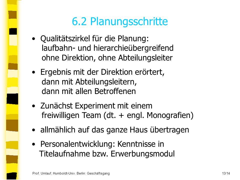 Prof. Umlauf, Humboldt-Univ. Berlin: Geschäftsgang 13/14 6.2 Planungsschritte Qualitätszirkel für die Planung: laufbahn- und hierarchieübergreifend oh