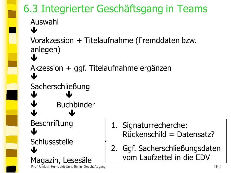 Prof. Umlauf, Humboldt-Univ. Berlin: Geschäftsgang 14/14 6.3 Integrierter Geschäftsgang in Teams Auswahl Vorakzession + Titelaufnahme (Fremddaten bzw.