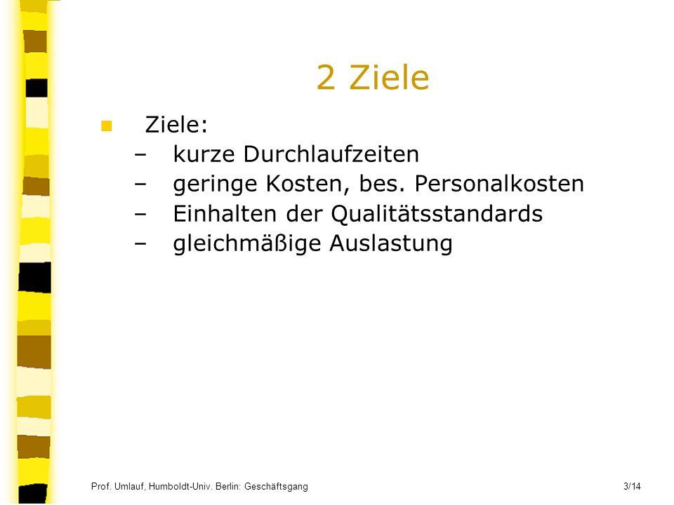 Prof. Umlauf, Humboldt-Univ. Berlin: Geschäftsgang 3/14 2 Ziele Ziele: –kurze Durchlaufzeiten –geringe Kosten, bes. Personalkosten –Einhalten der Qual