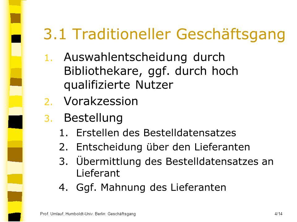 Prof. Umlauf, Humboldt-Univ. Berlin: Geschäftsgang 4/14 3.1 Traditioneller Geschäftsgang 1. Auswahlentscheidung durch Bibliothekare, ggf. durch hoch q