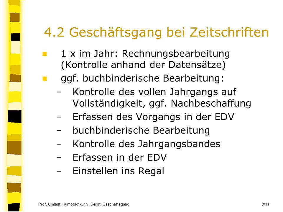 Prof. Umlauf, Humboldt-Univ. Berlin: Geschäftsgang 9/14 4.2 Geschäftsgang bei Zeitschriften 1 x im Jahr: Rechnungsbearbeitung (Kontrolle anhand der Da